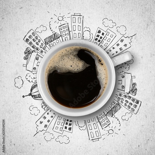Cup of coffee and illustration - 200364284