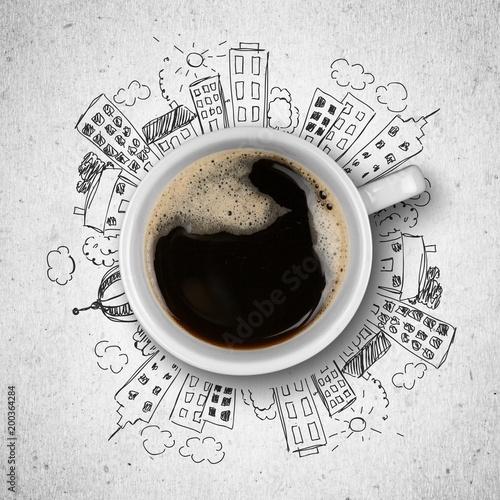 Filiżanka kawy i ilustracja