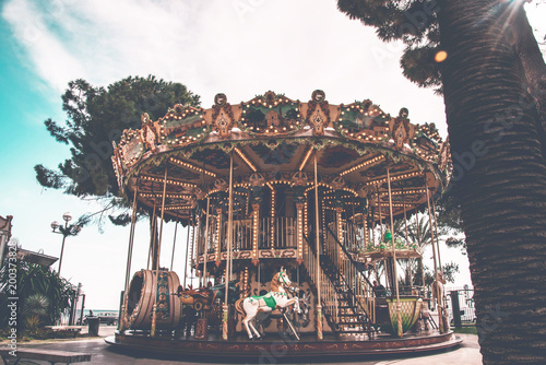 An old fashioned carousel in Nice, France. - 200373828