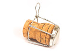 Champagne cork with wire holder isolated on white