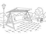 Garden swing graphic black white landscape sketch illustration vector - 200378698