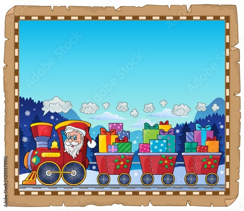 Poster Voor kinderen Parchment with Christmas train theme 3