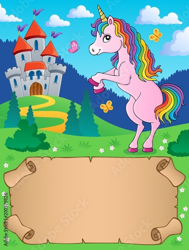 Poster Voor kinderen Small parchment and standing unicorn