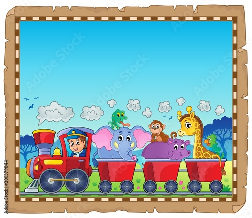 Poster Voor kinderen Train with animals theme parchment 1