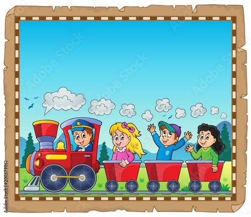 Poster Voor kinderen Train with kids theme parchment 1