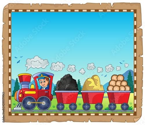 Poster Voor kinderen Train with various materials parchment 1