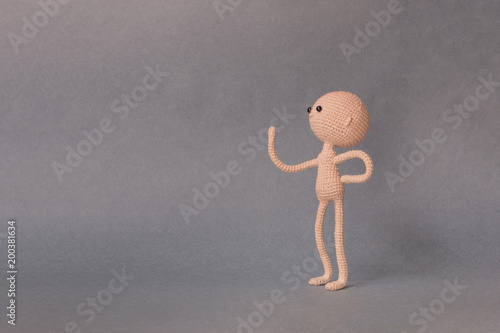 Mockup for presentation slide.Man in one hand holding object at the head