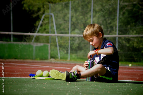 jeune tennisman - pause
