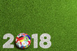 Leinwanddruck Bild - Fußball 2018 in Russland mit Teilnehmer Flaggen