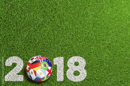 Leinwanddruck Bild Fußball 2018 in Russland mit Teilnehmer Flaggen