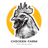 Portrait of a rooster head.  Black and white illustration. Realistic vector image of poultry chicken as a design element for logo, icon, template, label. - 200393443
