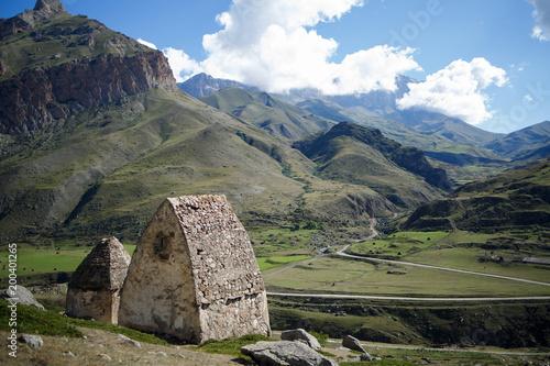 Foto op Plexiglas Grijs Ancient buildings in the mountains