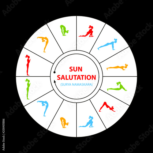 Obraz na płótnie sun salutation yoga asana