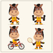 Set of funny horse is engaged in sports. Collection of cartoon horse of the sportsman: football player, with dumbbells, bicyclist, tennis player.