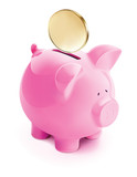 Pig bank with coin, isolated. Vector 3d illustration - 200410445