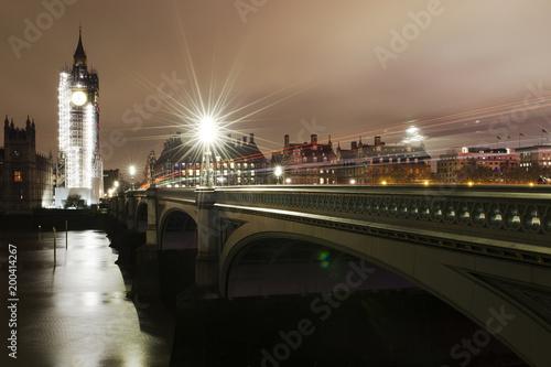 Foto op Canvas London Ben in major repair work, renovation - night view