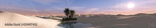oasis at sunset in the sandy desert, 3D rendering  - 200417435