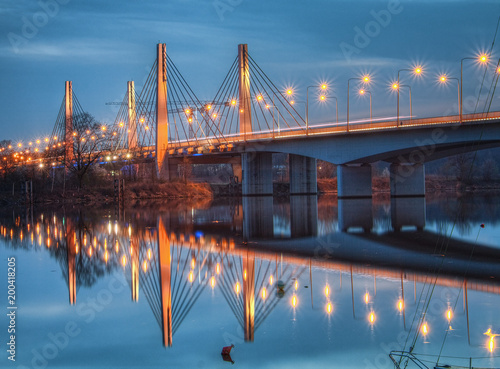 Millennium bridge at dusk. Wroclaw, Poland. - 200418205