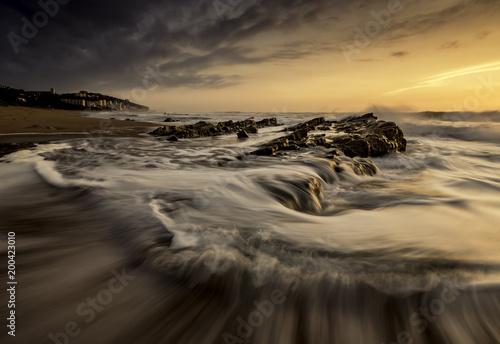 Fotobehang Zee zonsondergang Umdloti rush 2