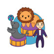 circus show with animals and announcer man over white background, colorful design. vector illustration