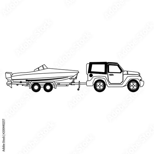 Suv holuje łódkowatego wektorowego ilustracyjnego graficznego projekt
