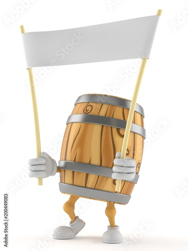Cask character holding blank banner