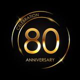 Template 80 Years Anniversary Vector Illustration - 200449486