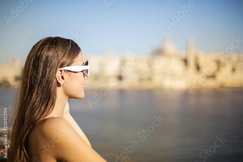 Beautiful woman enjoying the landscape