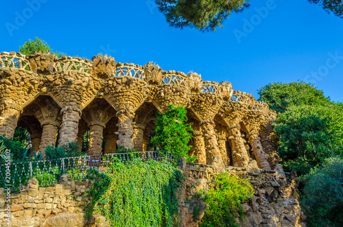View of an arcade in the parc guell in Barcelona.
