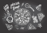 Pizza with pepperoni, olives and champignons, pieces of pizza, round knife, oil in a glass jug, parmesan. Set of Italian cuisine. Ink hand drawn Vector illustration. Food elements for menu design. - 200459659