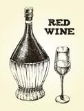 Vintage of Chianti wine Bottle and Glass. Ink hand drawn Vector illustration. Drink element for menu design. - 200459684