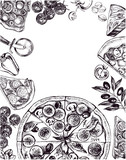 Background with round pizza, pieces of pizza, knife, parmesan. Set of Italian cuisine. Ink hand drawn Vector illustration. Composition of food elements for menu design. - 200459801