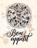 Pizza with pepperoni, olives and champignons. Italian cuisine. Ink hand drawn Vector illustration. Top view. Food element for menu design. - 200459846