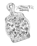 Pizza with pepperoni, olives and champignons on a wooden cutting board. Italian cuisine. Ink hand drawn Vector illustration. Top view. Food element for menu design. - 200459869