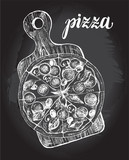 Pizza with pepperoni, olives and champignons on a wooden cutting board. Italian cuisine. Ink hand drawn Vector illustration. Top view. Food element for menu design. - 200459882