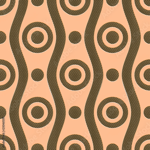 Golden metallic background with patterns, 3D rendering - 200461091