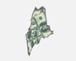 Maine ME Money Map Cash Economy Dollars 3d Illustration
