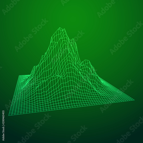 Fotobehang Groene Wireframe landscape vector background. Cyberspace grid technology illustration
