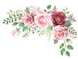 Watercolor Roses and Greenery Foliage Corner