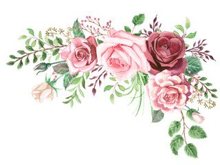 Watercolor Roses and Greenery Foliage Corner © aves