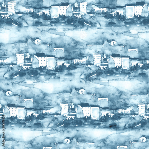 Foto op Plexiglas Lichtblauw Watercolor landscape of the old city. Art illustration, seamless background. Vintage blue, monochrome drawing, abstract splash of paint, silhouettes of houses, buildings, trees, hill.