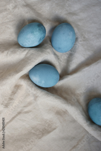 Easter eggs in turquoise color