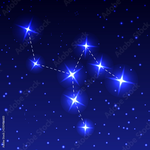 The Constellation Of The Giraffe in the night starry sky. Vector illustration of the concept of astronomy. - 200486683