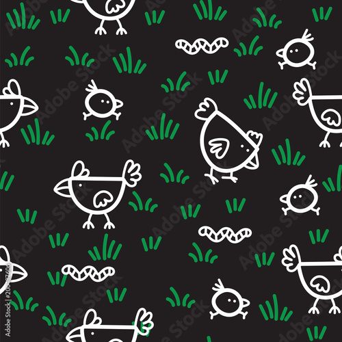 Cotton fabric Pattern chickens walking on green grass and pecking worms on black background. Chicken pattern background.