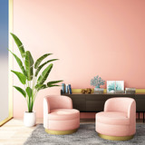 interior design for living area or reception with grey carpet , armchair,plant,cabinet on wood floor and pink background  / 3d illustration,3d rendering - 200495227