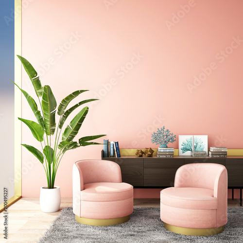 Wewnętrzny projekt dla żywego terenu lub przyjęcia z szarym dywanem, karłem, rośliną, gabinetem na drewnianej podłoga i różową background / 3d ilustracją, 3d rendering