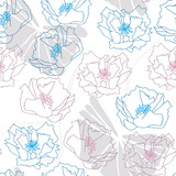Big poppies flowers and tropical leaves. Floral vector seamless pattern with hand drawn botanical elements.