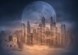 Full moon on desert cityscape at sand storm