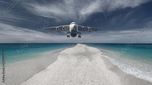 Fototapeta Passenger plane flying low in an attempt landing