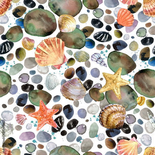 Materiał do szycia watercolor seashells and sea stones hand drawn seamless pattern. seashore background.